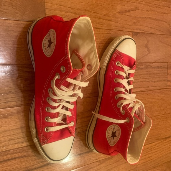 Vintage Chuck Taylor Converse Red High Top Sneakers Shoes Mens 9 Women's 11